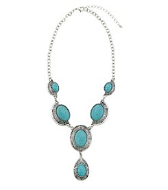 Ruff Hewn Silvertone Turquoise Statement Necklace