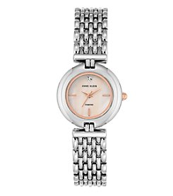 Anne Klein Women's Silvertone Rose Goldtone Bracelet Watch with Diamond Dial Accent