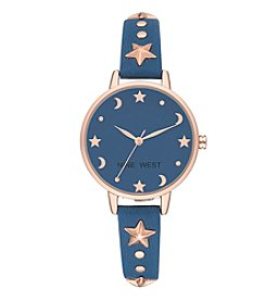 Nine West Women's Rose Goldtone Star And Moon Studded Watch