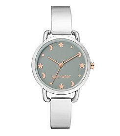 Nine West Women's Silvertone Star And Moon Accent Bangle Watch