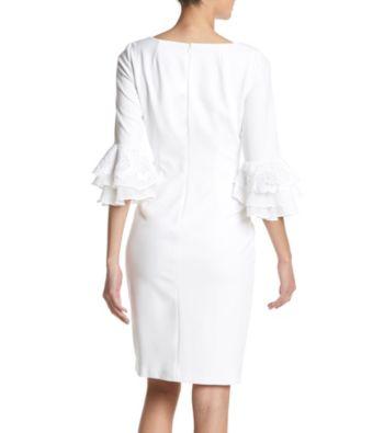 b0eabbe0 Calvin Klein Bell Sleeve Floral Embroidery Detail Cuff Sheath Dress