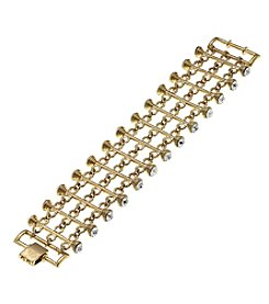 Canvas Goldtone Tiered Bar Bracelet