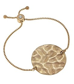 Canvas Goldtone Hammered Disc Bolo Bracelet