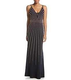 Xscape Beaded V Neck Gown