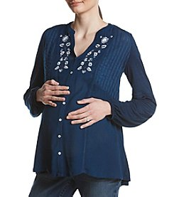 Flutter & Kick Maternity Floral Embroidery Detail Button Up Peasant Top