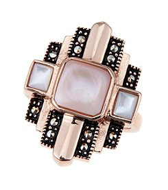 Marsala Rose Goldtone Shell Mop Ring