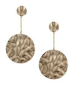 Canvas Hammered Disc Drop Earrings