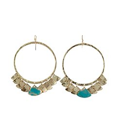 Canvas Hoop With Patina Petals Earrings