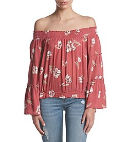 Hippie Laundry Balloon Sleeve Smocked Off Shoulder Floral Top