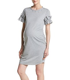 Flutter & Kick Maternity Sweatshirt Faux Pearl Ruffle Dress