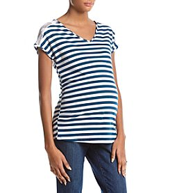 Flutter & Kick Maternity Stripe Dolman Lace V-Neck Top