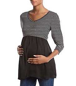 Flutter & Kick Maternity Stripe V-Neck Layered Look Top