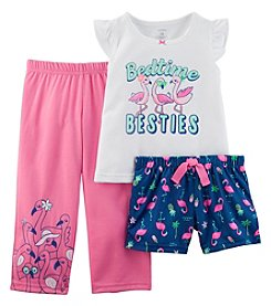 Carter's Girls' 2T-16 3-Pc. Neon Flamingo Jersey Pajama Set