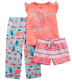 Carter's Girls' 2T-16 3-Pc. Neon Fish Jersey Pajama Set