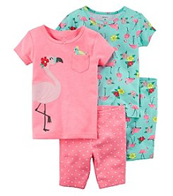 Carter's Girls' 2T-16 4-Pc. Neon Flamingo Snug Fit Cotton Pajama Set