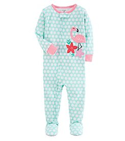 Carter's Baby Girls' One Piece Neon Flamingo Snug Fit Cotton Pajamas
