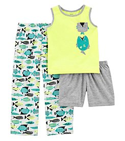 Carter's Boys' 2T-20  3-Pc. Neon Fish Jersey Pajama Set