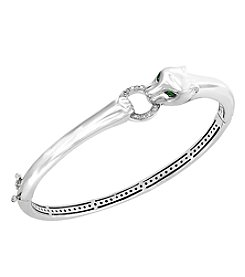 Effy 925 Sterling Silver Diamond Accent Tsavorite Signature Panther Bangle