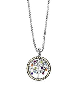 Effy 925 Sterling Silver & 18K Yellow Gold Multi Gemstone Tree Of Life Necklace