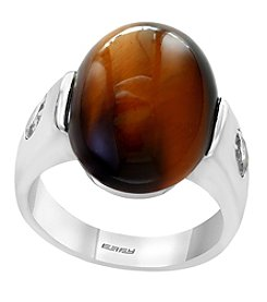 Effy Men's 925 Sterling Silver Tiger Eye & White Topaz Ring