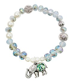 L&J Accessories Silvertone White Pearl Glass Bead Elephant Bracelet