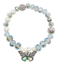 L&J Accessories Silvertone White Pearl Glass Bead Butterfly Bracelet