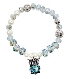 L&J Accessories Silvertone White Pearl Glass Bead Owl Bracelet