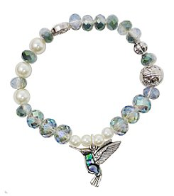 L&J Accessories Silvertone White Pearl Glass Bead Hummingbird Bracelet