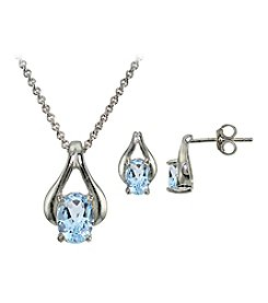 Sterling Silver Brass Blue Topaz Pendant Necklace And Earrings Set