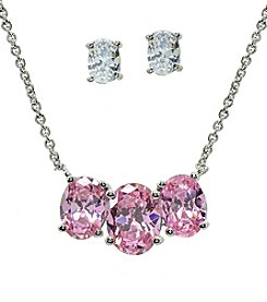 Sterling Silver Light Pink Cubic Zirconia Pendant Necklace And Earrings Set