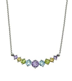 Sterling Silver Multi Frontal Necklace