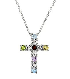 Sterling Silver Multi Diamond Accent Cross Pendant Necklace