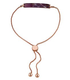 LA Rocks Rose Goldtone Amethyst Bar Bracelet