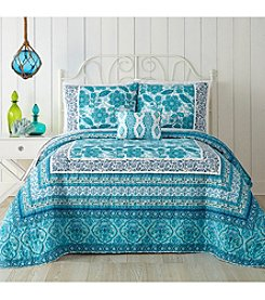 Jessica Simpson Aqua Floral Quilt Collection