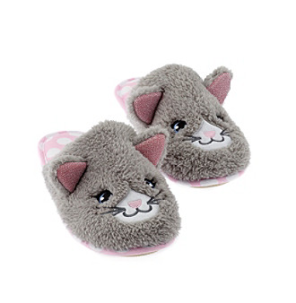 44a4c8f6a93 PJ Couture Cat Sherpa Critter Slippers