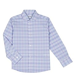Calvin Klein Boys' 4-20 Roadmap Plaid Long Sleeve Shirt
