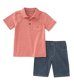Calvin Klein Boys' 2T-7 Polo With Shorts Set