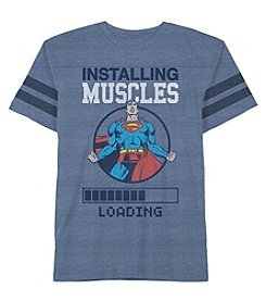 DC Comics Boys' 2T-7 Short Sleeve Installing Muscles Superman Tee
