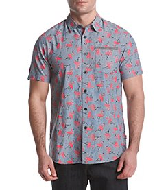 Unionbay Men's Fisher Short Sleeve Flamingo Print Button Down