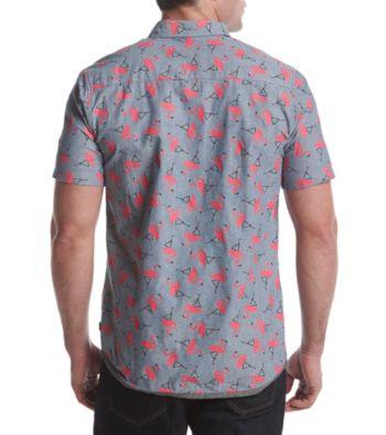 Unionbay Men\u0027s Fisher Short Sleeve Flamingo Print Button Down