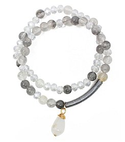 L&J Accessories Glass And Genuine Stone Stretch Bracelets