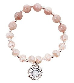 L&J Accessories Glass & Genuine Stone Charm Stretch Bracelet