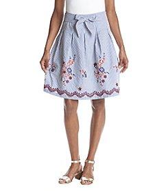 Nine West Chambray Embellished Skirt