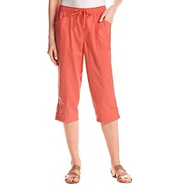 Breckenridge Button Hem Sheeting Capri Pants
