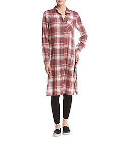 Hippie Laundry Plaid Pattern Button Up Tunic Top