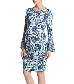 Flutter & Kick Maternity Paisley Floral Pattern Bell Sleeve Dress
