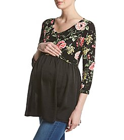 Flutter & Kick Maternity Floral Pattern V-Neck Flare Hem Top