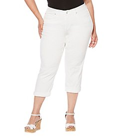 Rafaella Plus Size Denim Cuffed Capris