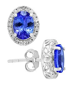 Effy 14K White Gold Oval Tanzanite & 0.21 Ct. T.W. Diamond Earrings