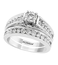 Effy 14K White Gold 0.94 Ct. T.W. Diamond Illusion Wedding Set